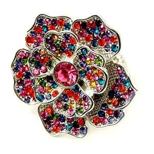 Multi Colored Crystal Studded Flower Stretch Fashion Ring Jewelry