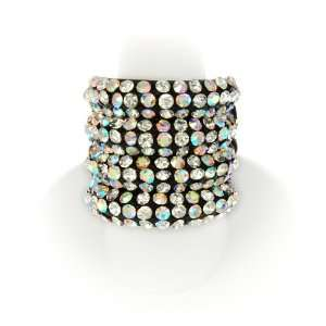 Blacktone Aurora Borealis Crystal Stretch Fashion Ring Jewelry