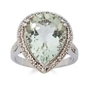 7.50 Carat Green Amethyst And Diamond Ring In 14kt White