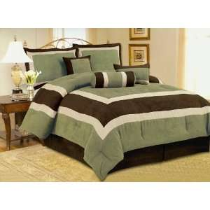 Soft Micro Suede Comforter Set Bedding in a bag, Sage Green   Queen