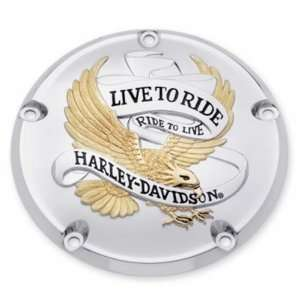 Harley Davidson Live to Ride Timer Cover Gold and Chrome