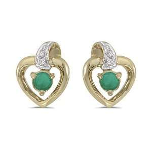Yellow Gold Round Emerald and Diamond Heart Shaped Earrings Jewelry