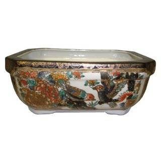 porcelain bonsai planter pot   gold filigree birds and flowers design