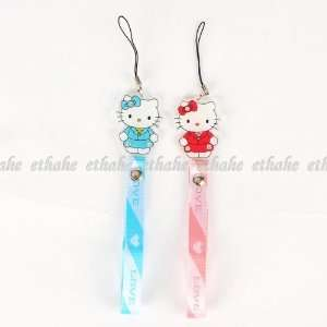 Hello Kitty Cell Phone Plastic Strap Charm 2pcs Cell