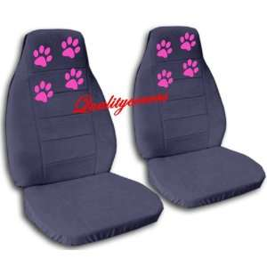 2 blue grey car seat covers with hot pink paw prints for a