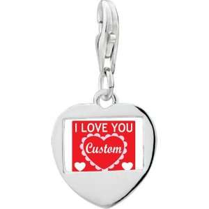 Silver Gold Plated Valentines Day I Love Youphoto Heart Frame Charm