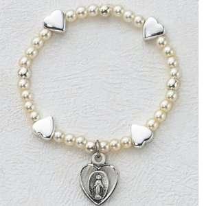 Sterling Silver Baby Heart Stretch Bracelet.