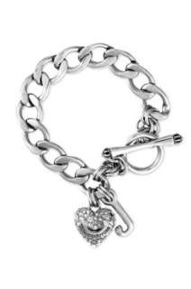 Juicy Couture Pave Heart Starter Charm Bracelet in Silver Clothing