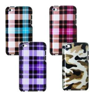 iPOD TOUCH 4 / 4G / 4TH FOUR CASE COMBO, PURPLE PINK BLUE PLAID, GREEN