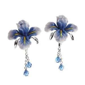 Franz Porcelain Blue Iris flower Rhodium plated brass & porcelain