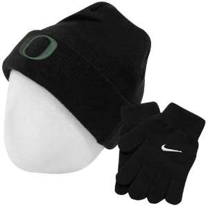 Nike Oregon Ducks Youth Black Knit Beanie & Gloves Set: