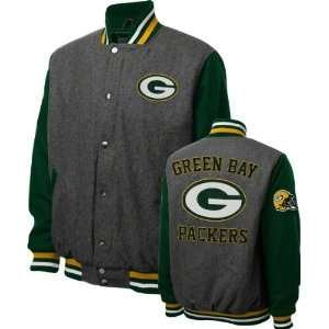 Green Bay Packers Grey Wool Varsity Jacket Sports & Outdoors