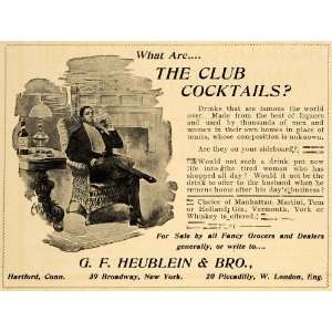 1899 Ad Club Cocktails Liquor Drinks Alcohol Gin Whisky Martini G F