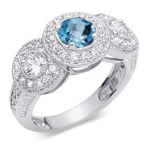 London Blue Topaz & White CZ Size 8 Gemstone Ring in Sterling Silver