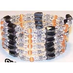 TIBETAN SILVER CLEAR CRYSTAL Magnetic Bracelet ORANGE