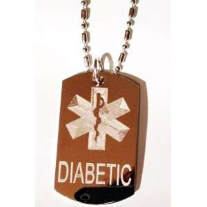 Medical Emergency Diabetic Logo Symbols   Military Dog Tag Luggage Tag
