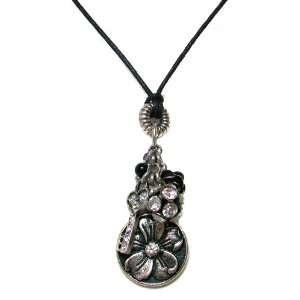 Me Jewels Silvertone Oxidized Flower Multi charm Necklace Jewelry