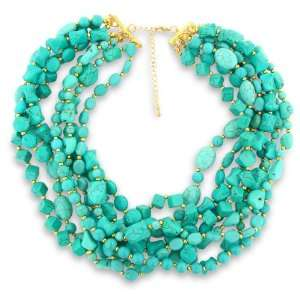 Multi Strand Turquoise Necklace with Yellow Gold Plated Beads Jewelry