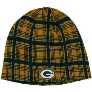 NFL Green Bay Packers Reversible Plaid Beanie Hat Sports