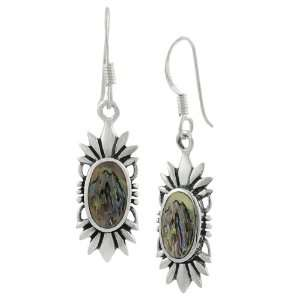 Sterling Silver Oval Abalone Earrings Jewelry
