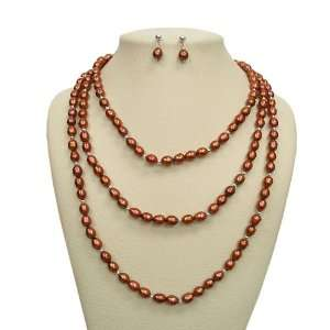Pretty Brown Freshwater Pearl Earrings & Necklace Set