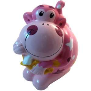 Ceramic Monkey Coin and Money Bank, Pink
