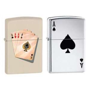Zippo Lighter Set   Ace of Spades, and Four of a Kind Aces