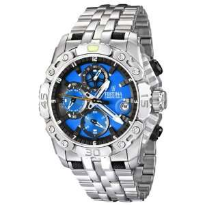 Silver Stainless Steel Quartz Watch with Blue Dial Festina Watches