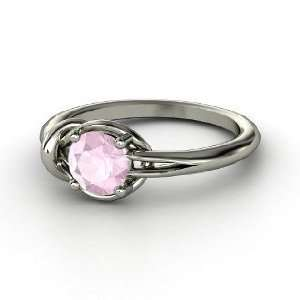 Hercules Knot Ring, Round Rose Quartz Sterling Silver Ring Jewelry