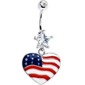 Red White and Blue Heart Belly Ring Jewelry