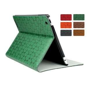 Green Clover Pattern Leather Folio Case for iPad 2 & The