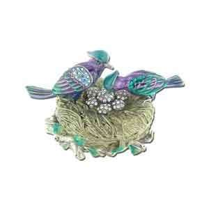 Pewter, Swarovski Crystal, Enameled Love Bird Keepsake Box Jewelry