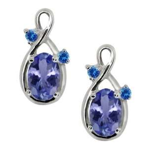 0.98 Ct Oval Blue Tanzanite and Blue Diamond 14k White