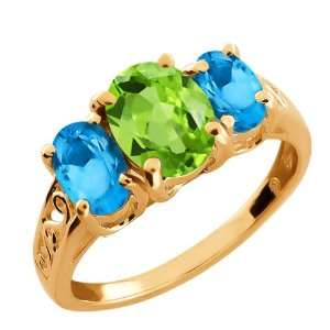 Ct Oval Swiss Blue Topaz and Green Peridot 18k Rose Gold Ring Jewelry