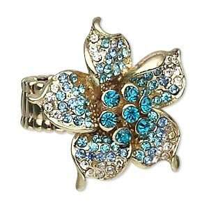 Turquoise Blue/Blue/Clear Flower Rhinestone Gold Pewter Stretch Ring