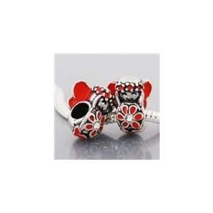 Antique Silver Red Enamel Flower Child Spacer Bead Charm. Compatible