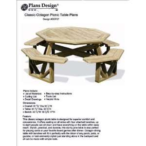 Octagon Picnic Table / Bench Woodworking Project Plans Pattern #ODF07