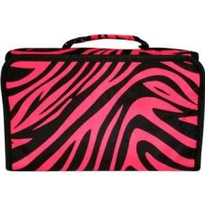 Zebra Hot Pink Black Trim Makeup Cosmetic Bag Case Large