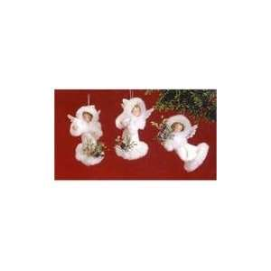 of 12 Snow Fall Valley White Angel Christmas Ornaments