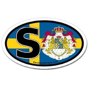 Sweden S Swedish Flag Car Bumper Sticker Decal Oval Automotive