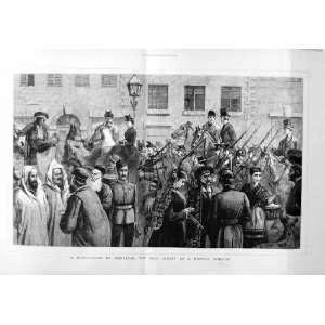 1877 Soldiers Street Scene Hunting Sport Horses Print