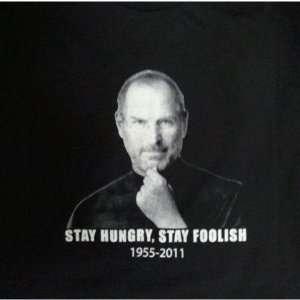 Steve Jobs T shirts Stay Hungry, Stay Foolish Black Tee