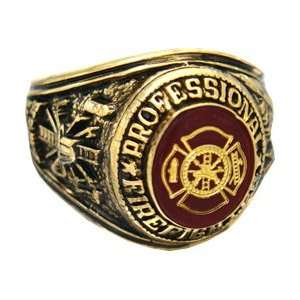 Professional Fire Fighter 18k Gold Plated Ring (9, 18k