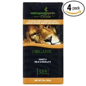 Endangered Species Lion Chocolate Bar   Milk Chocolate, 3 Ounce (Pack