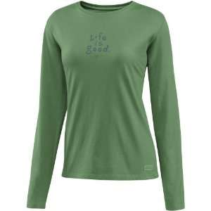 Life is Good Womens Crusher Long Sleeve Tee, Stacked LIG, Green, X