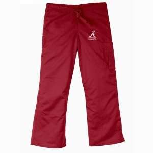 Alabama Crimson Tide NCAA Cargo Style Scrub Pant (Crimson) (2X Large