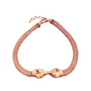 Playing Cats Necklace in Rose Gold Over Brass with White