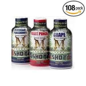 Lot 108 Mad Dog Energy Shots, 2 oz each, No Crash Sugar Free, 6 Hour