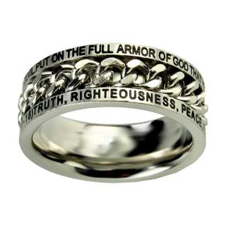 NEW! Guys Armor of God Chain Spinner Purity Ring