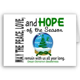 Christmas Holiday Snow Globe 1 Organ Donation Cards from Zazzle